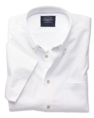 Slim fit button-down washed Oxford short sleeve white shirt