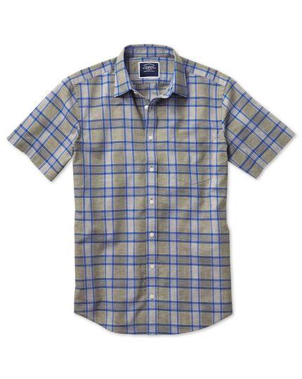 Classic Fit Kurzarmhemd aus Baumwoll-Leinen mit Karos in Khaki