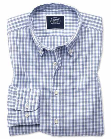Extra slim fit navy gingham soft washed non-iron Tyrwhitt Cool shirt