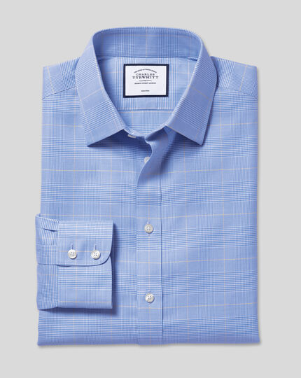 Classic Collar Non-Iron Prince of Wales Check Shirt - Blue & Gold