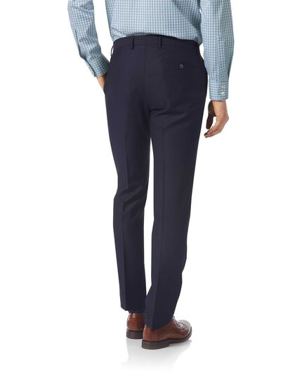 Navy slim fit textured Italian suit