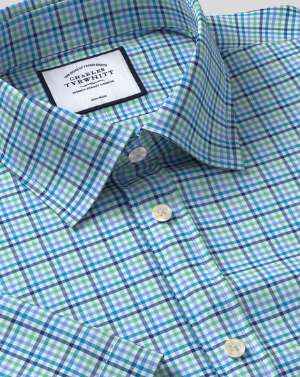 Classic Collar Non-Iron Tyrwhitt Cool Poplin Short Sleeve Check Shirt - Green