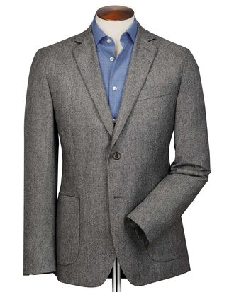 Slim fit grey puppytooth Italian wool flannel blazer