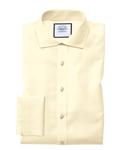 Extra slim fit spread collar non-iron twill yellow shirt