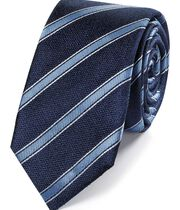 Navy and sky blue stripe slim tie