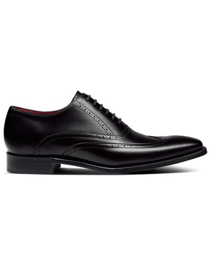 Black made in England Oxford brogue flex sole shoes
