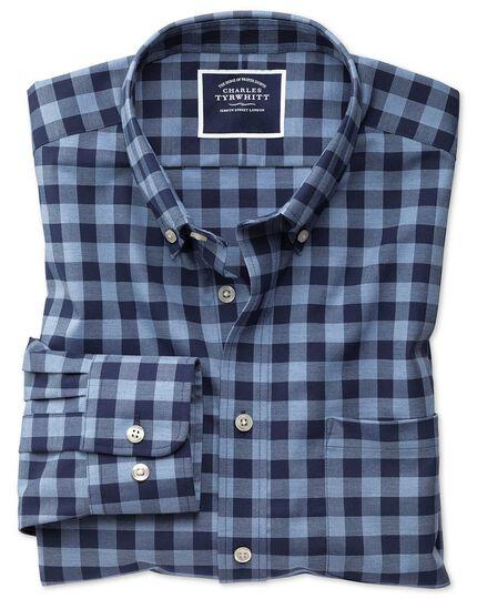 Chemise bleu marine coupe droite en twill à carreaux sans repassage