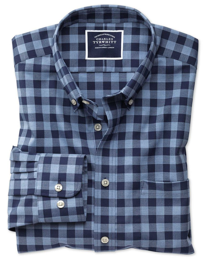 Classic fit navy gingham soft washed non-iron twill shirt