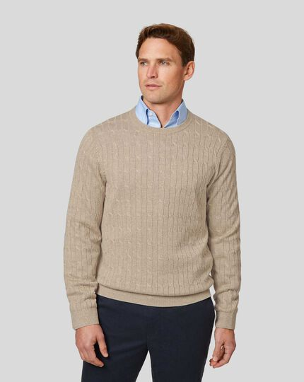 Merino Linen Cable Knit Crew Neck Jumper - Stone