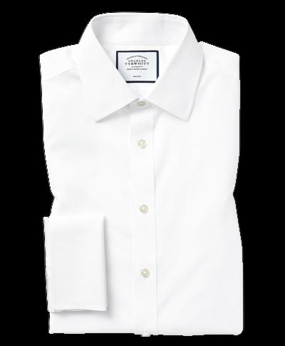 Slim fit white non-iron poplin shirt