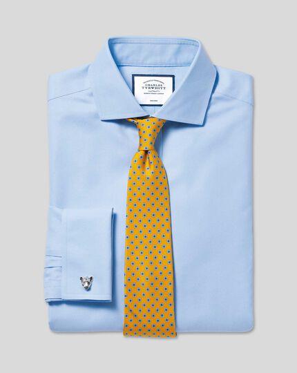 Bügelfreies Twill-Hemd mit Haifischkragen - Himmelblau
