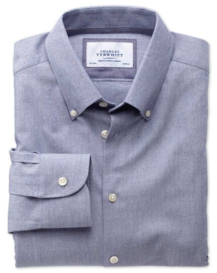 Slim fit button-down collar business casual blue shirt