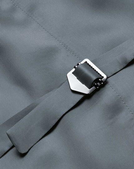 Silver adjustable fit cross hatch weave italian suit vest