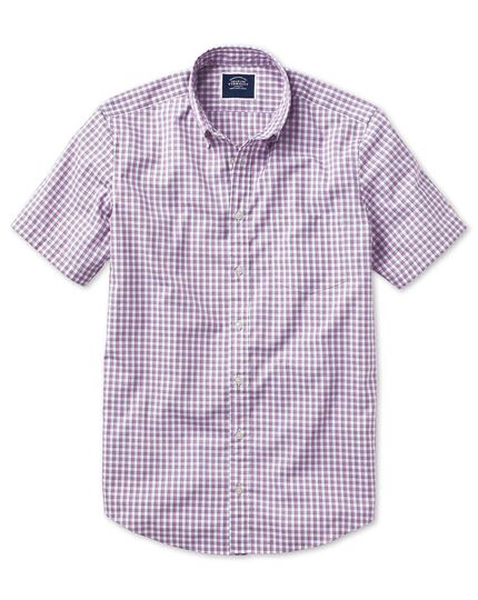 Vorgewaschenes kurzärmeliges Hemd Classic Fit Bügelfrei Cool mit Gingham-Karos in Beerenrot