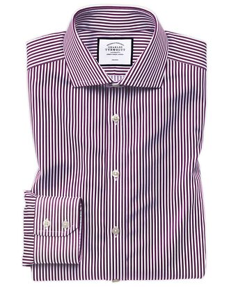 Slim fit non-iron spread collar berry twill stripe shirt