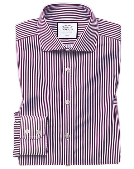 Slim fit non-iron cutaway collar berry twill stripe shirt