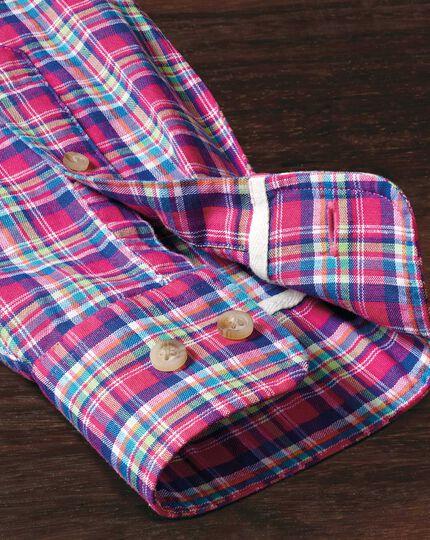 Chemise rose et verte slim fit à carreaux
