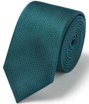 Teal silk slim textured semi plain tie