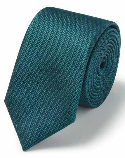 Teal silk textured semi plain slim tie