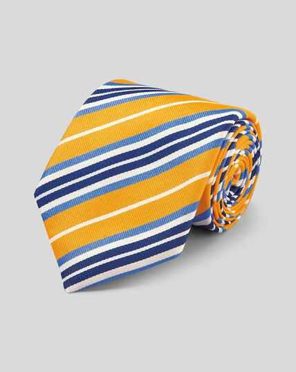 Cravate de luxe en reps de soie anglaise à rayures - Jaune et bleu