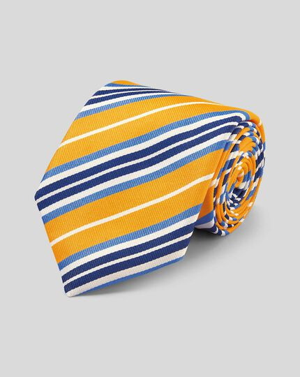Silk Reppe Stripe English Luxury Tie - Yellow & Blue