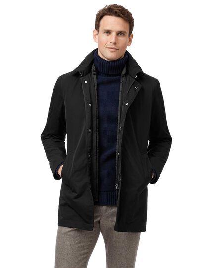 Black showerproof hooded 3 in 1 raincoat