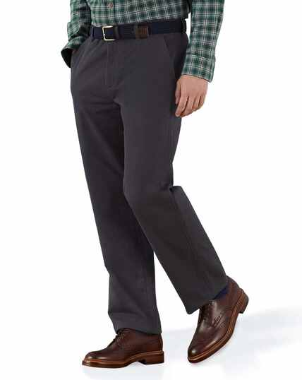 Grey classic fit flat front washed chinos