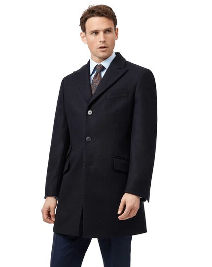 Navy wool and cashmere Epsom overcoat