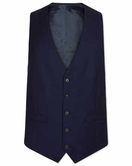 Ink blue adjustable fit birdseye travel suit waistcoat