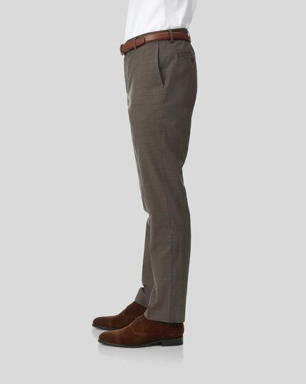 Cotton Linen Stretch Pants - Brown