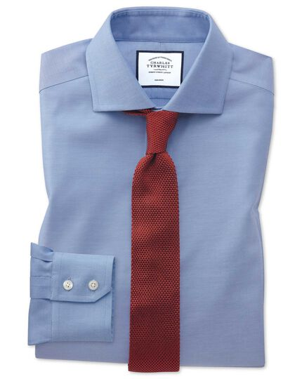 Slim fit cutaway non-iron cotton stretch Oxford mid blue shirt