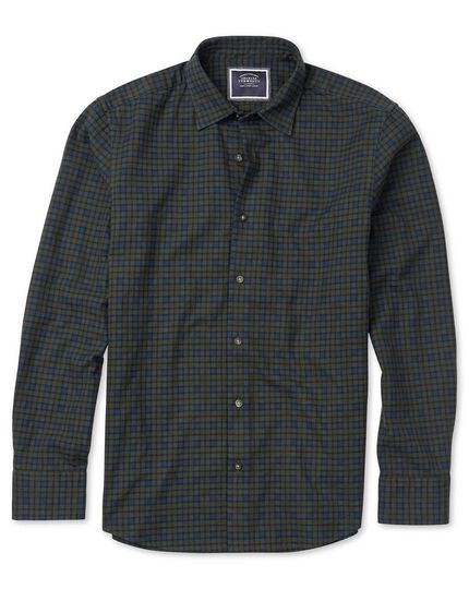 Classic fit green check winter flannel shirt