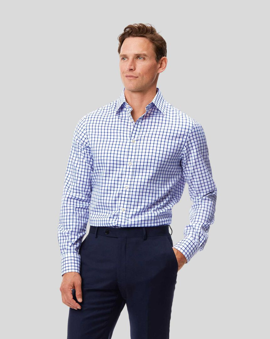 Classic Collar Non-Iron Twill Grid Check Shirt - Royal Blue