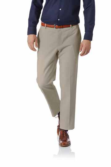 Pantalon natural performance beige en lin slim fit