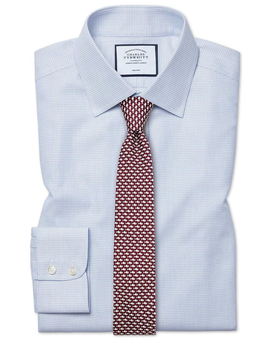Extra slim fit non-iron dash weave blue shirt