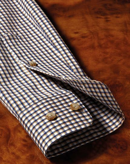 Classic fit button-down non-iron poplin gold and blue gingham shirt