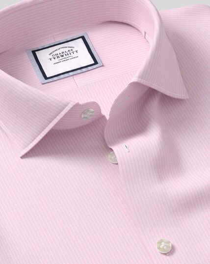 Geschmeidig smartes Hemd mit Business-Casual-Kragen und Streifen -  Rosa