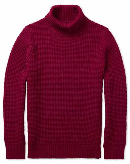Red chunky merino roll neck jumper
