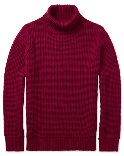 Red chunky merino roll neck sweater