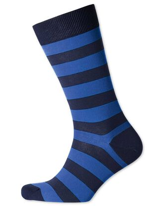 Navy and royal wide stripe socks