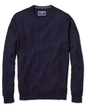 Navy crew neck lambswool cable knit jumper