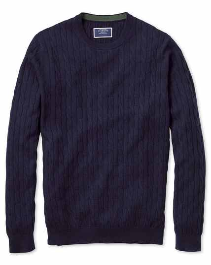Navy crew neck lambswool cable knit sweater