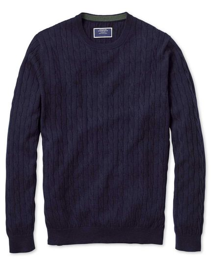 e79b7bbd207d5 Navy crew neck lambswool cable knit sweater