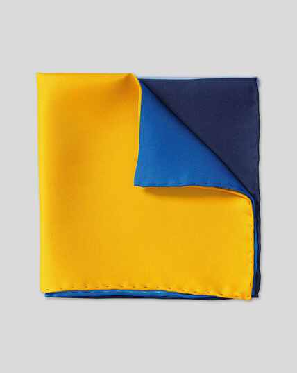 Quarter Pocket Square - Blue & Gold