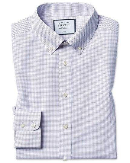 Classic fit non-iron button-down lilac and blue check shirt
