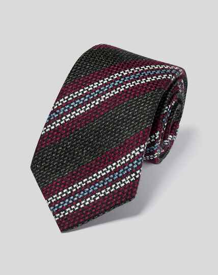 Wool Silk Stripe Italian Luxury Tie - Green & Berry