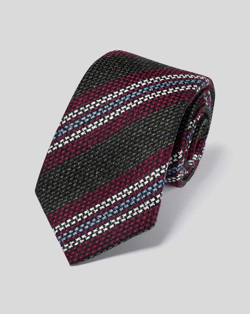 Wool Silk Stripe Italian Luxury Tie - Green & Berry
