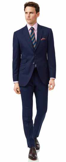 Blue slim fit British luxury suit