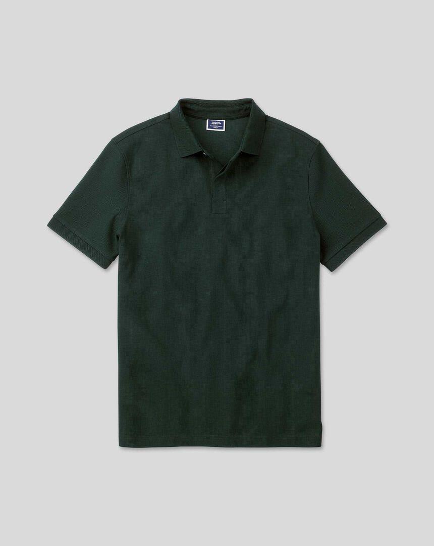 Tyrwhitt Cool Short Sleeve Waffle Polo - Green