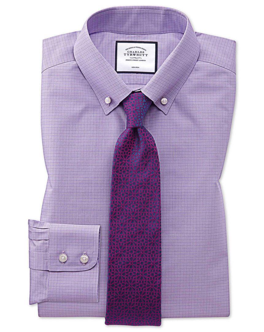 Non-Iron Prince Of Wales Check Shirt - Lilac